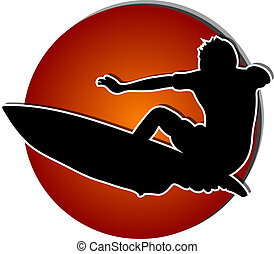 Surfer silhouette against big red sun, eps10 vector