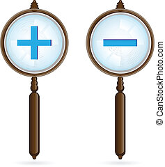 Magnifying glass Illustration on white background