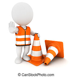 3d white people stop sign with traffic cones and wearing a...
