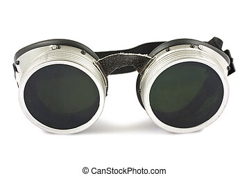 Welding goggles - Retro welding goggles isolated on a white...