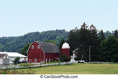 Red Barn - A Red Barn on an Amish Farm near Harmony,...