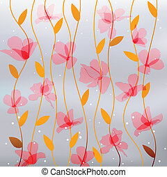 abstract transparency pink flowers