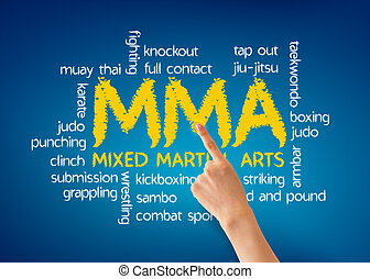 Mixed Martial Arts - Hand pointing at a Mixed Martial Arts...