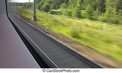 New wide rail track, view from window in train, time lapse