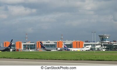 Planes AEROFLOT stands on aircraft parking on Sheremetyevo airport