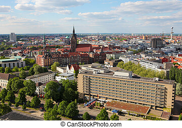 Overview on the center of Hannover, Germany.