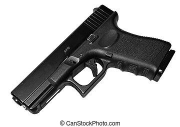 9 Mm, pistola, aislado, negro