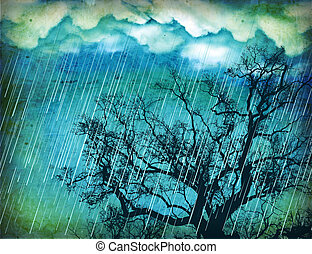 Raining sky.Grunge nature background with tree and dark clouds