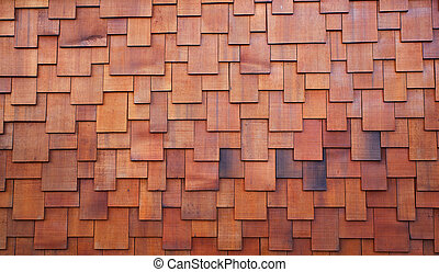 Shake roof - New section of a red shake cedar or redwood...