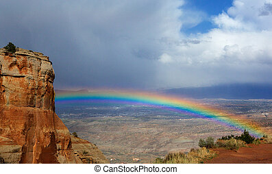 Rainbow over Grand Junction - Bright rainbow over Grand...