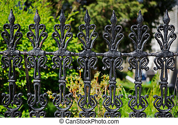 Victorian fence - Black painted worn and weathered victorian...