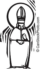 Pope - Woodcut style image of the Catholic Pope with a Halo.