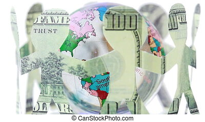 paper dollars people stand holding hands and rotates around globe