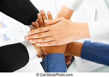líder, seu, empregados, mãos, unidade