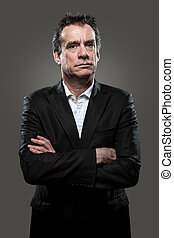 Grumpy Business Man High Contrast - Grumpy Stern Middle Age...