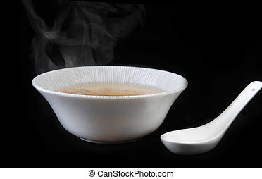 bowl with soup - bowl with delicious mushroom soup. Chinese...
