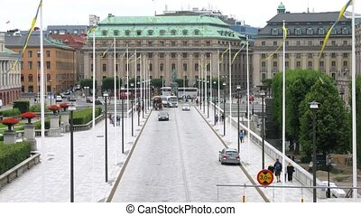 Traffic at old Norrbro bridge - STOCKHOLM, SWEDEN - JULY 15:...