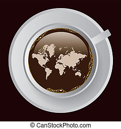 coffee with map - cup of coffe with map