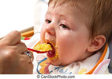 bebê, Menino, pequeno, comer