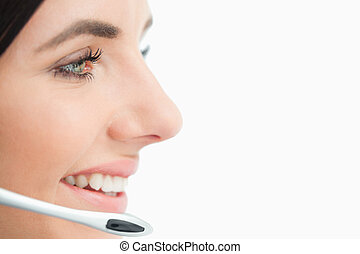 Close up of a call center worker