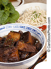 Braised Pork Belly Slices Cooked in Dark Soy Sauce