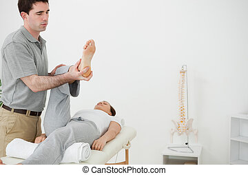 Brunette physiotherapist manipulating the leg of a woman in...