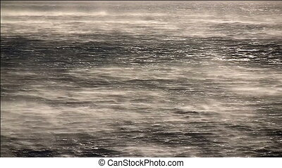 Hurricane wind on sea - Hurricane wind on the sea near the...