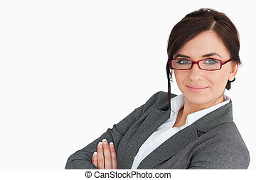 Businesswoman wearing red glasses