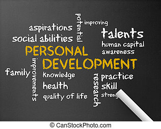 Personal Development - Dark chalkboard with a Personal...