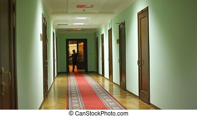 deputy assistant entering corridor and approaching - Young...