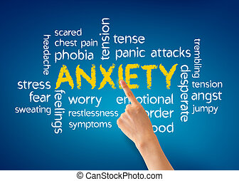 Anxiety - Hand pointing at a Anxiety word illustration on...
