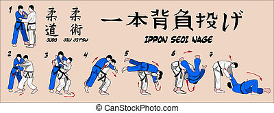 Judo projection technique - Judo projection over his...