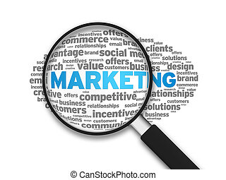 Marketing - Magnifying glass zooming in on a marketing word...