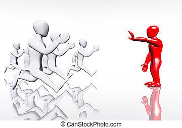 Human Figure Showing Stop 3D render