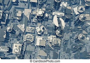 Metropolis Aerial View 3D render