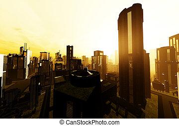 3D Future Metropolis Smoggy Sunset