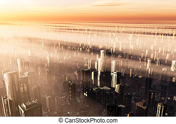3D Future Metropolis Sunset smog