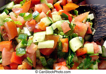 Food and Cuisine - Salads - Fresh vegetable Israeli salad