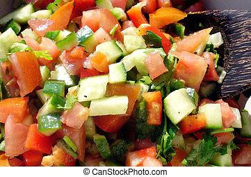 Food and Cuisine - Salads - Fresh vegetable Israeli salad.