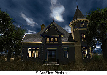 Scary House 3D render