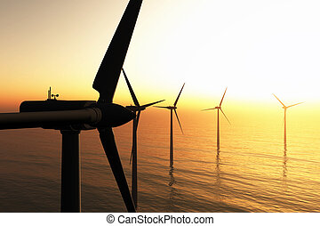 Wind Turbines in the Sea in the Sunset 3D render