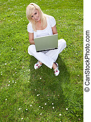 Young pretty blonde with a laptop