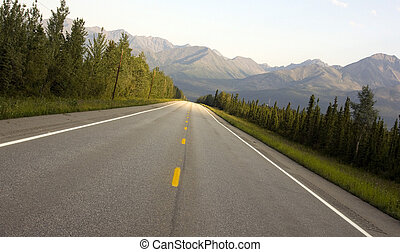 State Hwy 2 Alaska - A straight away on State Hwy 2 in...