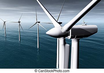 Windfarm in the Sea dull weather