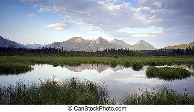 Alaska Outdoors - A tarn along the Chugach Mountains and Hwy...