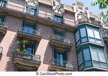 Detail of the building, Barcelona, Spain