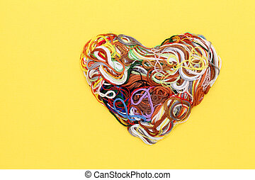 Entangled threads, heart shape