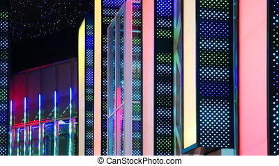 colored bright walls nightclub with flickering LEDs