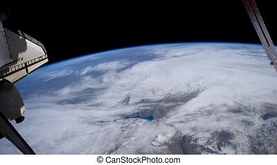 Planet Earth from window of shuttle in afternoon - NASA -...