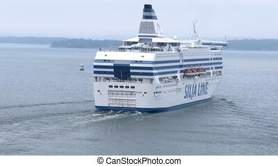 SILJA LINE cruise liner overrun another ship - STOCKHOLM,...